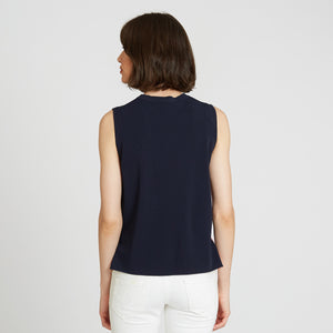Muscle Tee with Racing Stripes in Navy | Autumn Cashmere