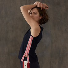 Load image into Gallery viewer, Muscle Tee with Racing Stripes in Navy | Autumn Cashmere