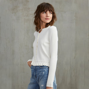 Ruffle Edge Cardigan in Cream | Autumn Cashmere