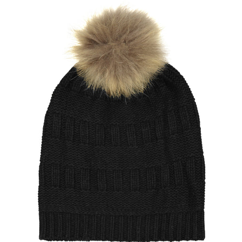 Textured Beanie Hat with Pom Pom in Black | Autumn Cashmere