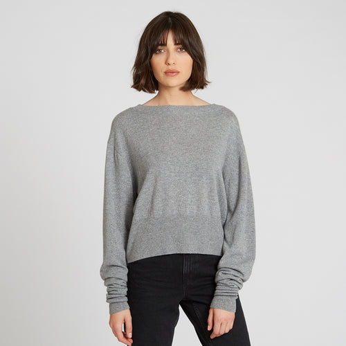 Cashmere Crop with Scrunched Sleeves