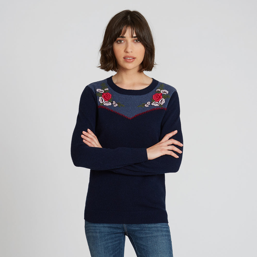 Western Embroidered Cashmere Crew