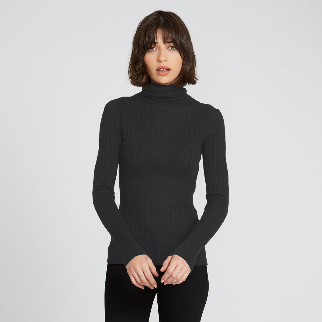 Ribbed Cashmere Turtleneck in Charcoal | Autumn Cashmere