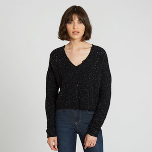 Distressed Cashmere V-Neck Sweater