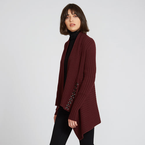 Rib Drape with Lacing in Red Wine | Cashmere Wool Cardigan | Autumn Cashmere