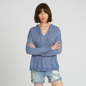 Distressed Cashmere Hoodie in Blue