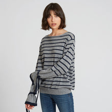 Load image into Gallery viewer, Striped Cashmere Crew with Tied Cuff | Autumn Cashmere