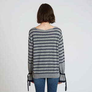 Striped Cashmere Crew with Tied Cuff | Autumn Cashmere