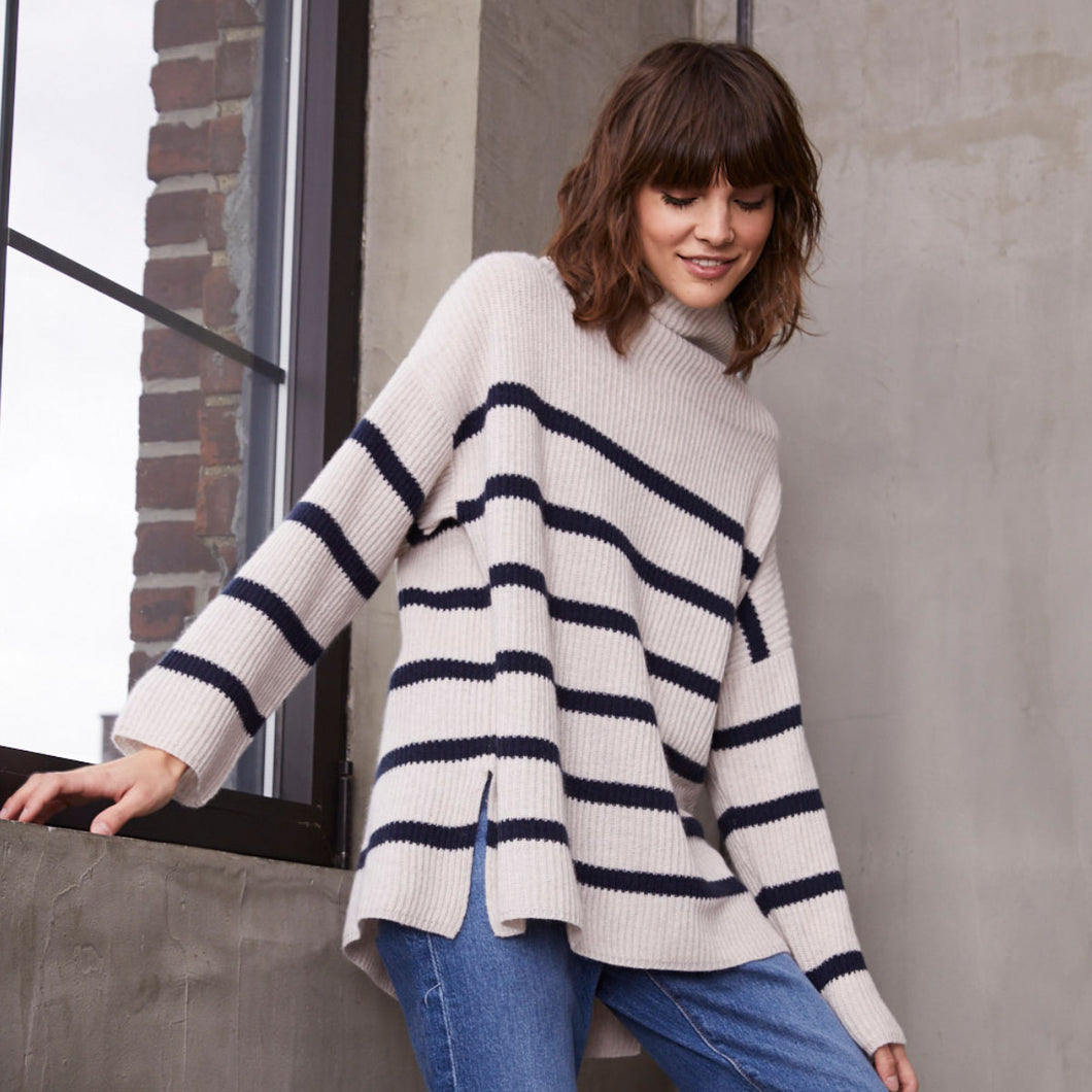 Breton Stripe Shaker Mock in Mojave/Navy