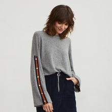 Load image into Gallery viewer, Boxy Sweatshirt with Stripe Snaps