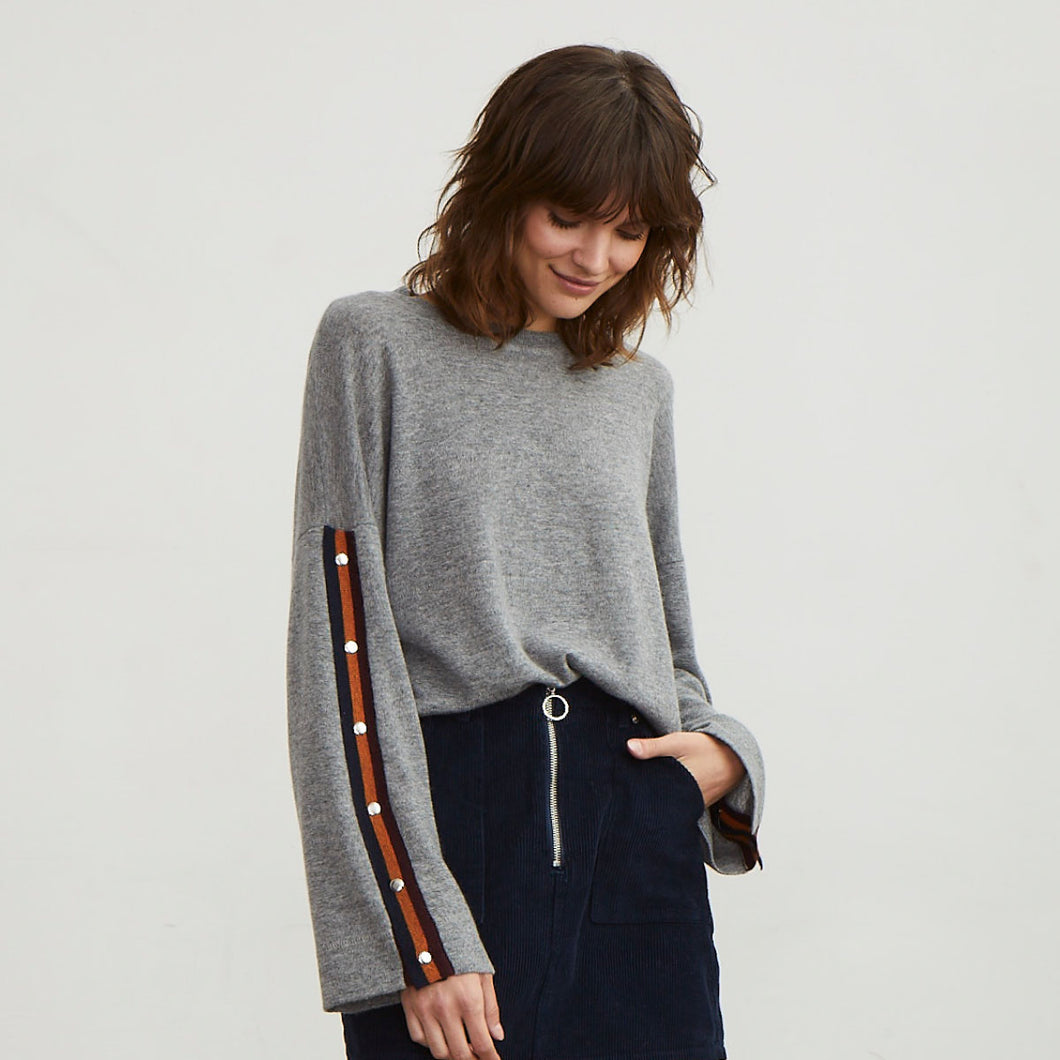 Boxy Sweatshirt with Stripe Snaps
