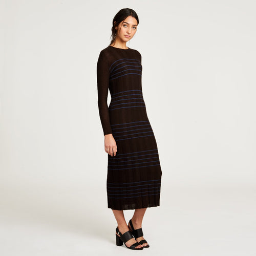 Striped Ribbed Cashmere Midi Dress in Brown | Autumn Cashmere