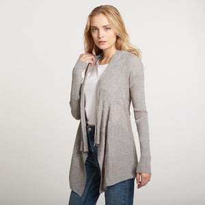 Cotton Rib Drape Cardigan in Grey by Autumn Cashmere | Women's Clothing & Knitwear