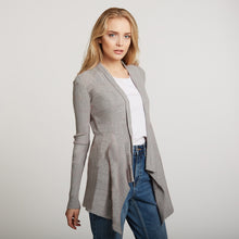 Load image into Gallery viewer, Cotton Rib Drape Cardigan in Grey by Autumn Cashmere | Women's Clothing & Knitwear