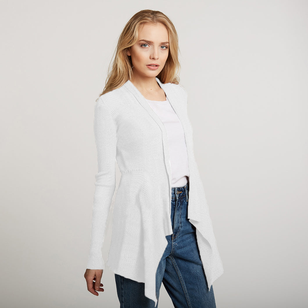 Cotton Rib Drape Cardigan in White by Autumn Cashmere | Women's Clothing & Knitwear