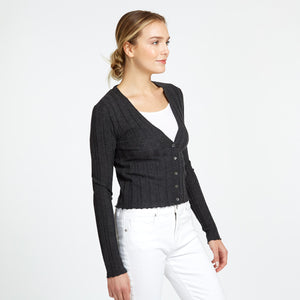 Cashmere V-Neck Cardigan in Charcoal