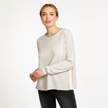 Load image into Gallery viewer, Color Blocked Crew with Crochet Detail in Neutral Beige | Women's Apparel & Knitwear | Autumn Cashmere