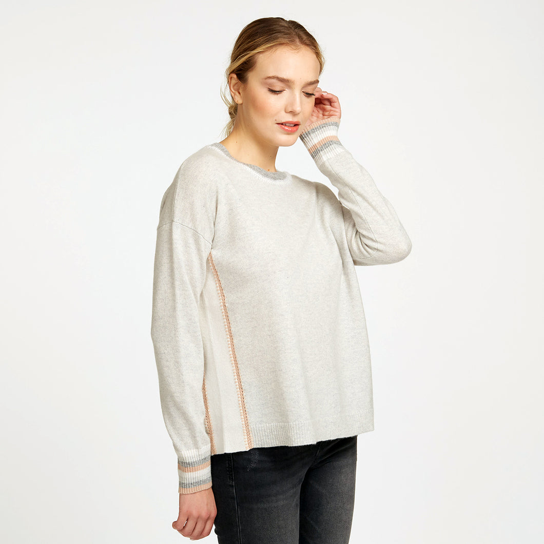 Color Blocked Crew with Crochet Detail in Neutral Beige | Women's Apparel & Knitwear | Autumn Cashmere