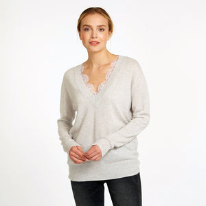 Deep V-Neck with French Lace Insert in Neutral Beige Pullover Sweater | Autumn Cashmere