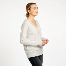 Load image into Gallery viewer, Deep V-Neck with French Lace Insert in Neutral Beige Pullover Sweater | Autumn Cashmere