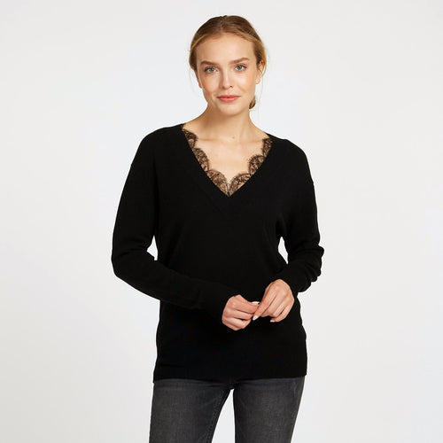 Deep V-Neck with French Lace Insert in Black Pullover Sweater | Autumn Cashmere