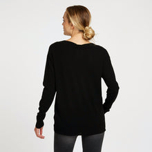 Load image into Gallery viewer, Deep V-Neck with French Lace Insert in Black Pullover Sweater | Autumn Cashmere