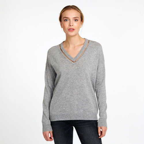 Deep V-Neck Pullover with Rings in Grey | Women's Sweaters & Knitwear | Autumn Cashmere