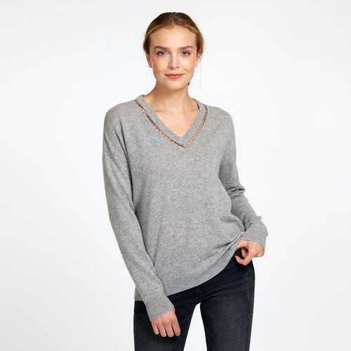 Deep V-Neck with Rings in Sweatshirt