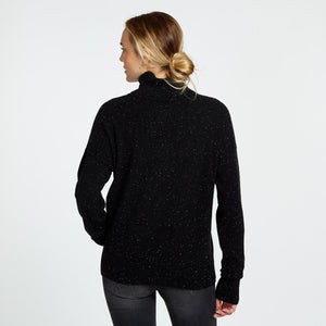 Relaxed Mock with Cuff Detail in Furnace | Autumn Cashmere