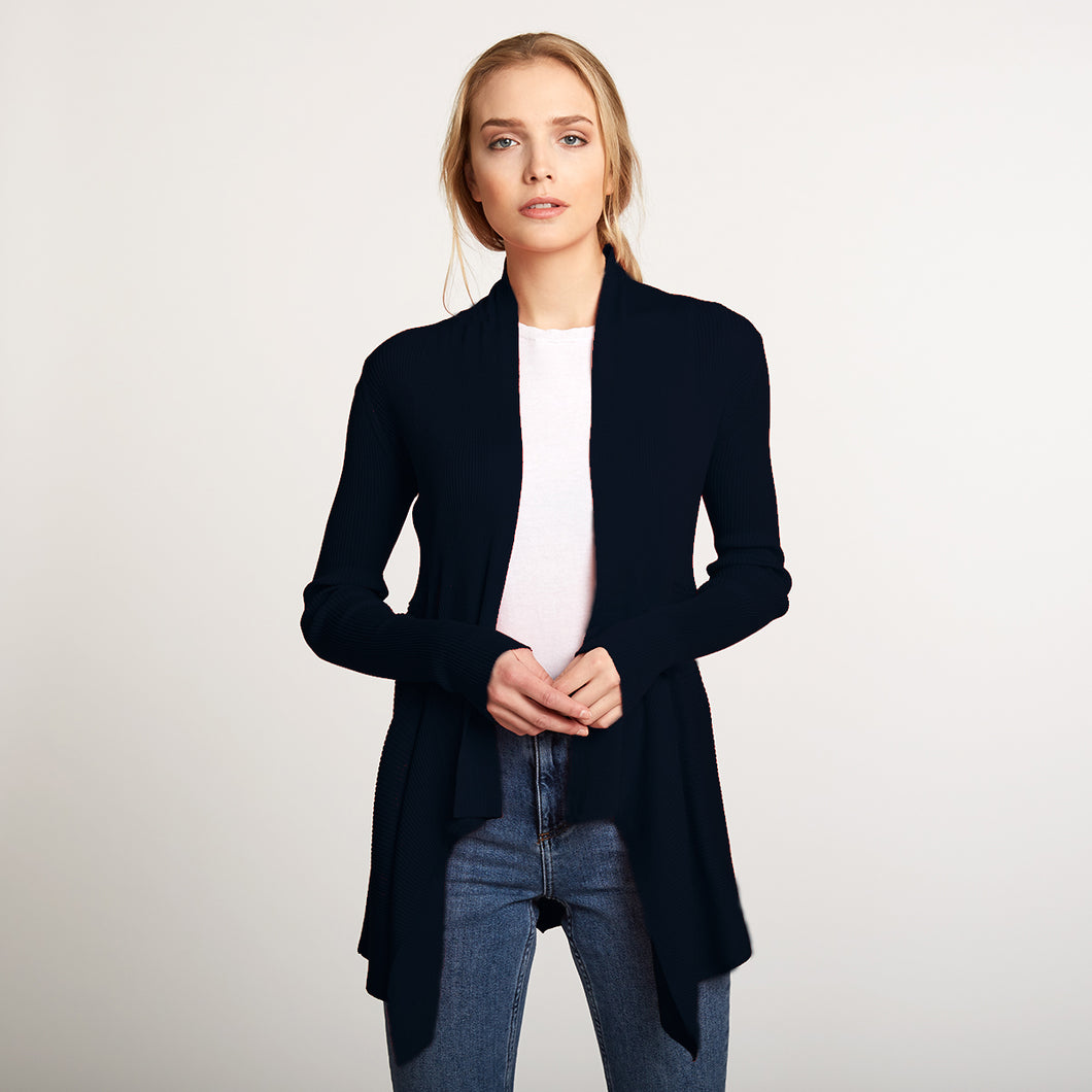Cotton Rib Drape Cardigan in Navy Blue by Autumn Cashmere | Women's Clothing & Knitwear