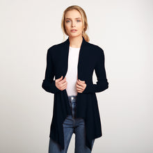 Load image into Gallery viewer, Cotton Rib Drape Cardigan in Navy Blue by Autumn Cashmere | Women's Clothing & Knitwear