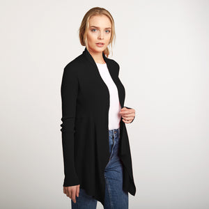 Cotton Rib Drape Cardigan in Black by Autumn Cashmere | Women's Clothing & Knitwear
