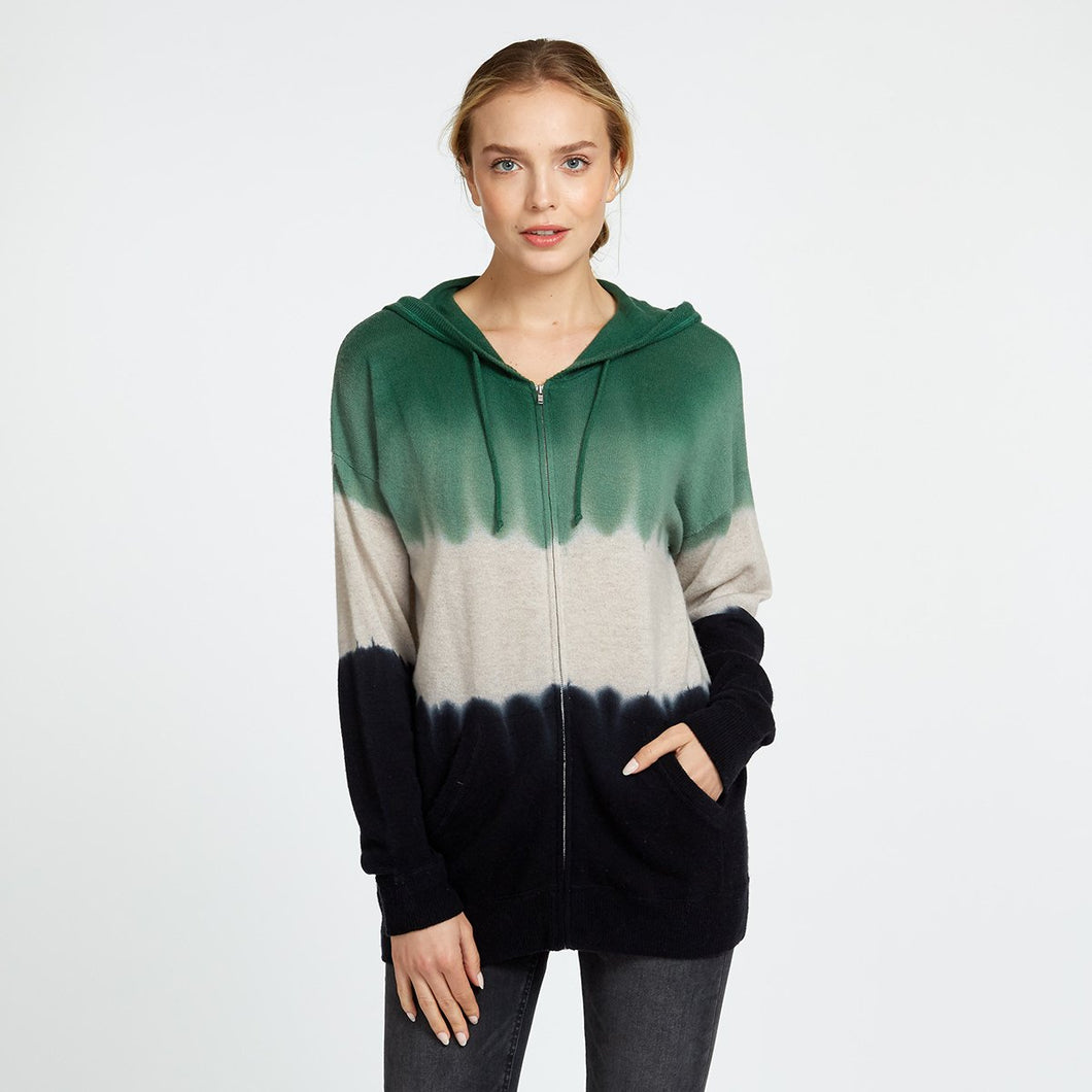 Oversize Dip Dye Hoodie in Green Black | Women's Sweaters & Pullovers | Autumn Cashmere