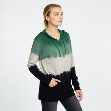 Load image into Gallery viewer, Oversize Dip Dye Hoodie in Green Black | Women's Sweaters & Pullovers | Autumn Cashmere