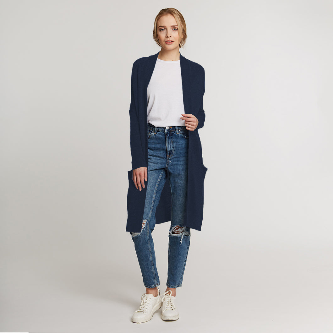 Cashmere Maxi Cardigan in Navy