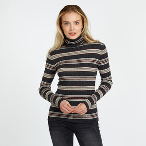 Striped Ribbed Cashmere Turtleneck | Autumn Cashmere