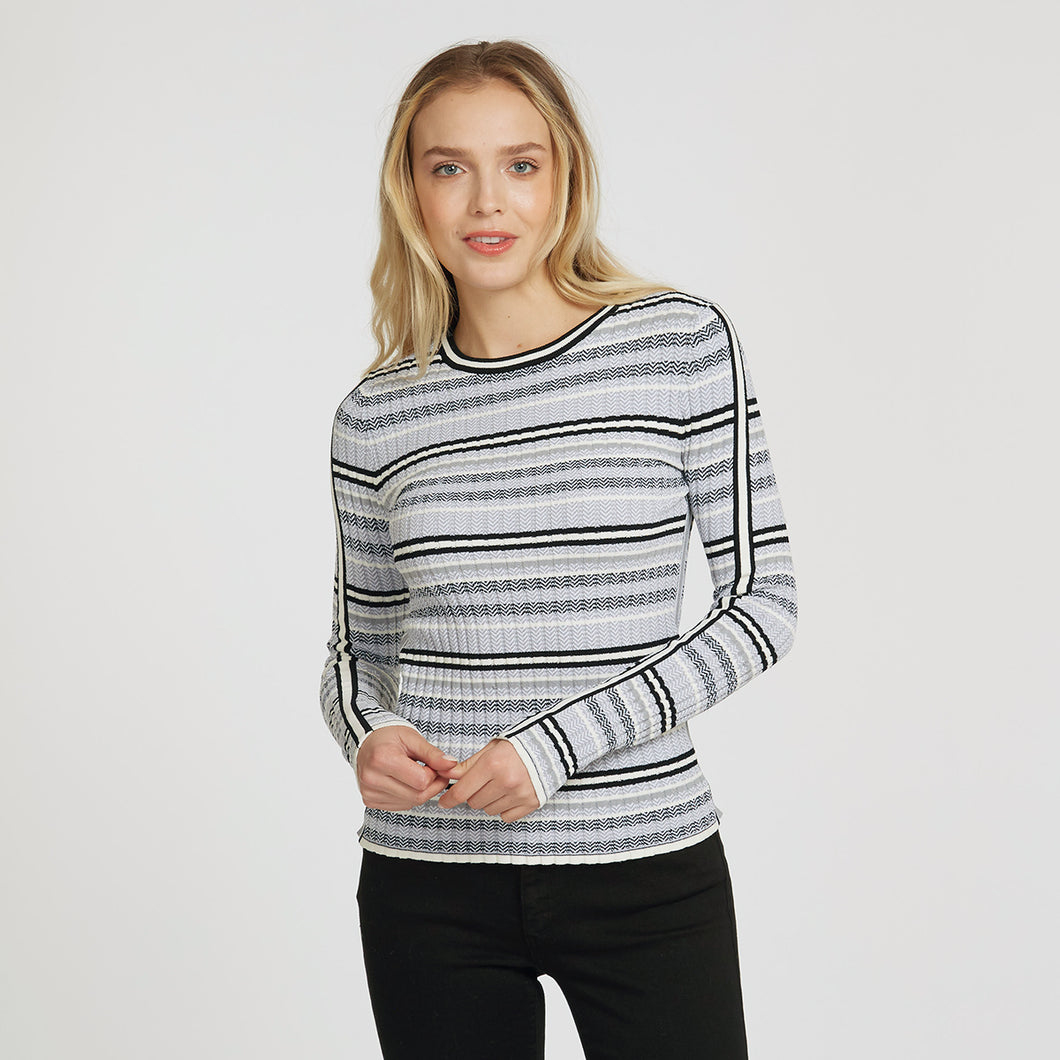 Athletic Flame Stitch Crew | Athletic Stripes | Women's Apparel | Viscose Blend | Autumn Cashmere