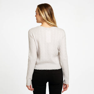 Distressed Cable Crew Pullover in Beige with Speckles | Women's Sweaters & Apparel | Autumn Cashmere
