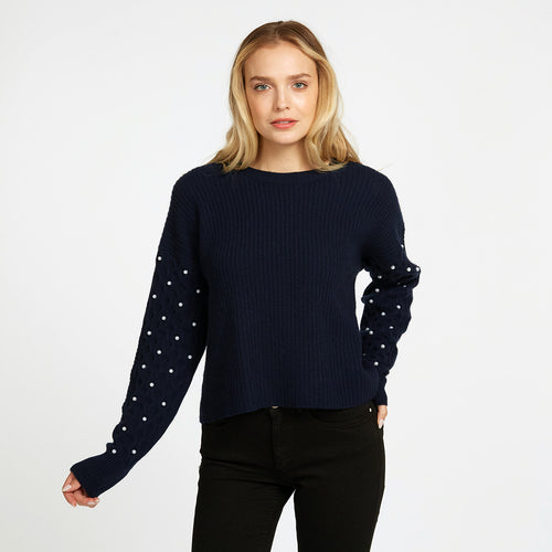 Shaker Crew with Pearl Cable Sleeves in Navy Blue | Women's Sweaters | Autumn Cashmere