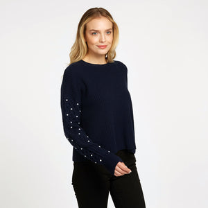 Shaker Crew with Pearl Cable Sleeves in Navy Blue | Women's Pullovers | Autumn Cashmere