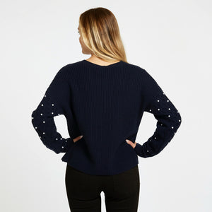 Shaker Crew with Pearl Cable Sleeves in Navy Blue | Women's Apparel & Knitwear | Autumn Cashmere