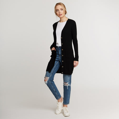 Ribbed Cashmere Long Cardigan in Black | Autumn Cashmere
