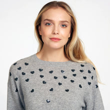 Load image into Gallery viewer, Hearts Crew in Grey | Women's Apparel & Knitwear | Heart Sweater | Autumn Cashmere