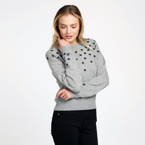 Hearts Crew in Grey | Women's Apparel & Knitwear | Heart Sweater | Autumn Cashmere