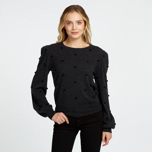 Puff Sleeve with Pom Poms | Autumn Cashmere
