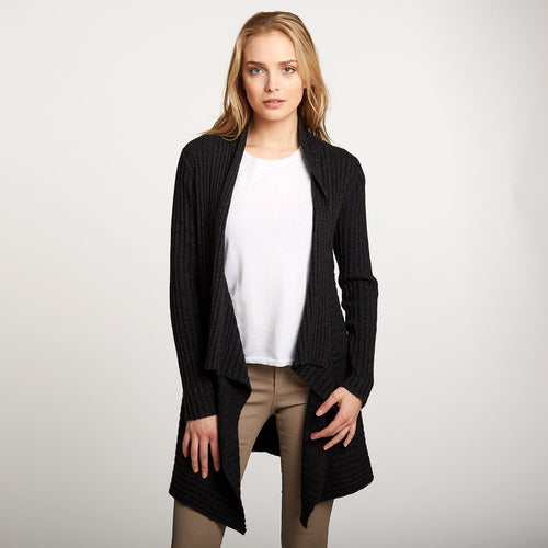Cashmere Rib Drape Cardigan in Black | Autumn Cashmere | Women's Clothing & Knitwear