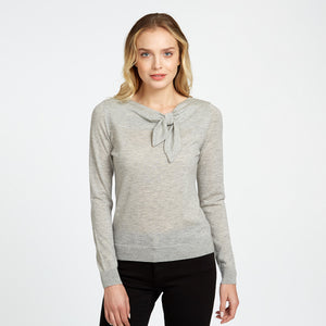Asymmetric Tie Neck in Grey