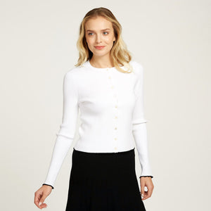 Lettuce Edge Crew Neck Cardigan in White | Women's Apparel | Viscose Blend | Long Sleeves | Buttons | Autumn Cashmere