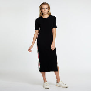 Short Sleeve Midi Dress with Racing Stripe | Autumn Cashmere