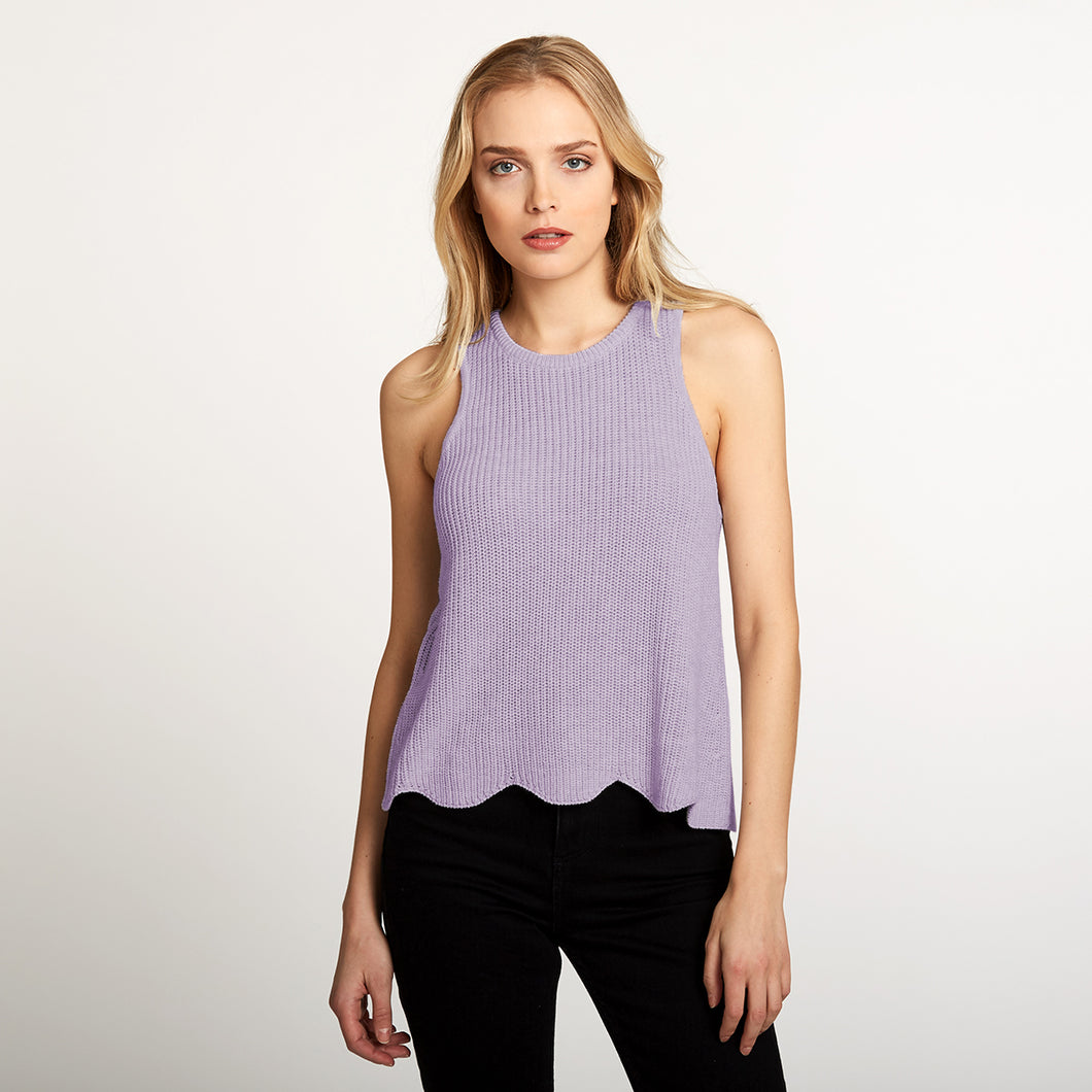 Cotton Scallop Shaker Tank in Purple